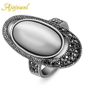 Wholesale Ajojewel Vintage Retro Style Women s Oval Shaped White Stone Ring Opal Jewelry With Black Rhinestone Anillos Mujer
