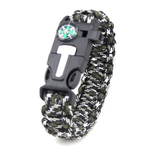 Wholesale paracord charms resale online - High Quality Mens and Womens Cool Ourdoor Survival Bracelet Handmade Multicolors Whistle Compass Charm Paracord Bracelet