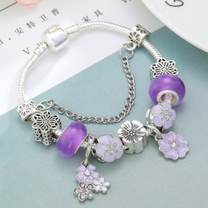 Wholesale BAOPON High Quality Flower Pendant Charm Bracelets Purple Murano Glass Beads Brand Bracelets For Women Girls Jewelry Gift