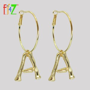 Wholesale F J4Z Hot Women Letter Earrings Golden Alloy A Z Bamboo Initail Hoop Earrings Fashion Alphabet Ear Hoop pendientes iniciales