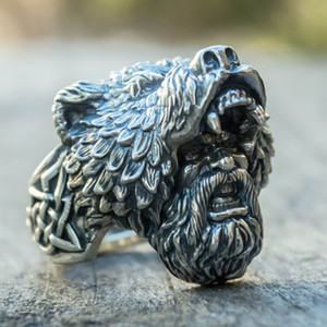 Wholesale Fashion jewelry Classical Vintage Men Ring Bear Man Punk designer Rings Cross Rock Luxury Rings Trendy Retro male ring