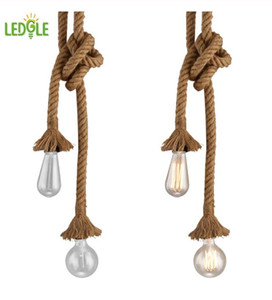 Vintage Pendant Light Cord Decorative Ceiling Rope Lamp Country Style Lighting Kit with 2 E27 Sockets 1.5m in Length Luz