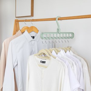 Wholesale Multi Function Coat Hanger Pure Color Rotate Prevent Slip Clothes Hangers Household Balcony Wardrobe Coats Rack Creative xy L1