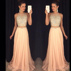 2020 Spring Beading Prom Dresses Long Sequins Sleeveless A Line Two Pieces Evening Dress Robe De Soiree Chiffon Evening Gowns on Sale