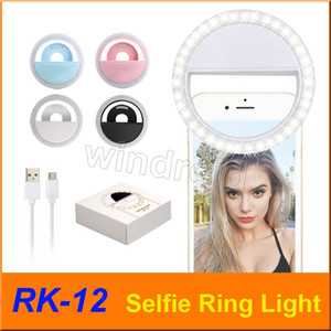 RK12 RK-12 Rechargeable Universal LED Selfie Light Ring Light Flash Lamp Selfie Ring Lighting Camera Photography For all phone cheapest 50pc