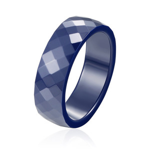 Wholesale dark blue fashion jewelry for sale - Group buy 2017 Top Quality Personality Dark Blue And Black Multi Faceted Ceramic Rings Men Women New Fashion Jewelry Ring Gift