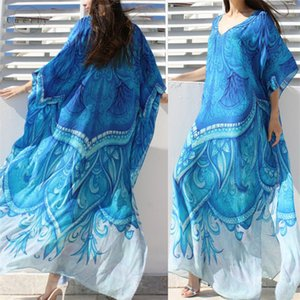 Wholesale Beach Dress Ocean Blue Bohemian Printed Kaftan Plus Size Sleeve Summer Beachwear Half Tunic Maxi Dress Robe N669