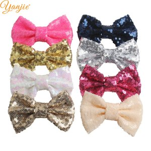 Wholesale ow without clip colors DHL quot Sequin Messy Bow without clips For you DIY Kids Jersey Headband Girl Accesso