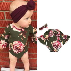 Wholesale 2019 Ins Baby Girls Flare Sleeve Floral Romper headband girls wear jumpsuits Kids Printed baby onesies Rompers Bodysuit boutique clothing