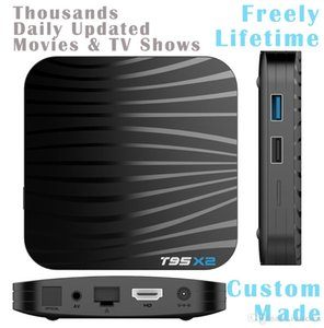 50pcs T95X2 Custom Made Amlogic S905X2 Quad core 4K Smart Android8.1 TV Box 2GB 16GB 4GB 32GB thousands daily updated movies & tv shows free