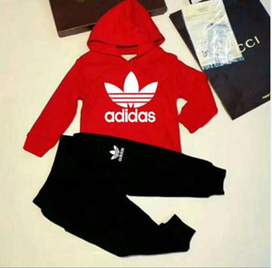 Wholesale Fashion classic children's sweater 2019 new boys and girls classic sports suit baby infant t-shirt clothes children's clothing 3 color 2-9 y