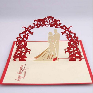 Wholesale pieces D Pop Up Bride And Groom Wedding Invitation Card Vintage Red Heart Marriage Invitations With Envelope IC106