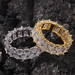 Wholesale New Design Ice Out HipHop Cube CZ Rings High Quality Jewellery Gold Sliver Micro Paved Ring for Man and Women Gift