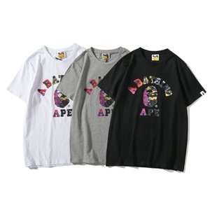 Wholesale Bape Fashion Designer T Shirt Mens Women High Quality Short Sleeves Luxury Mens Cotton Casual Tees