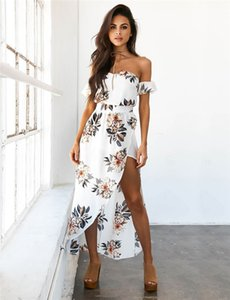 Wholesale Summer Dresses Boho Style Chiffon Off Shoulder Beach Dress Floral Print Long Maxi Dress vestidos femininos robe White Party Dresses