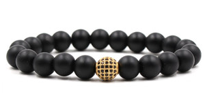 Wholesale 10mm th32 elastic adjusted nature black stone volcanic lava bead micro pave cz zircon cubic zirconia ball Bracelet