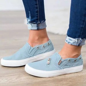 Zipper Canvas Shoes Wholesale Womens Loafers Flat Jeans casual women's slip on shoes Stylish Large Size Canvas Flat shoes