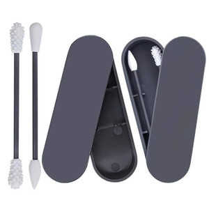 Cotton Swab Portable Silicone Swab Cleanable for Ear Cleaning Beauty Treatment Makeup Reusable Cotton Buds with Dust-proof Case
