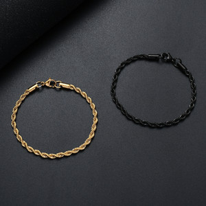 Wholesale black and gold party for sale - Group buy Width MM L stainless steel gold black twist chain bracelet fashion jewelry for men and women party gifts