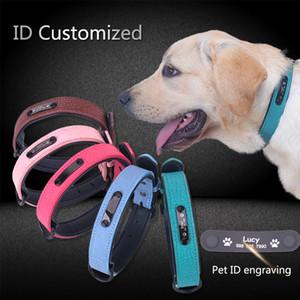 Wholesale Personalized Dog Collars adjustable Soft Leather Custom Dog Collar Name ID Tags For Cat puppy Large Dogs collar Pet Accessories