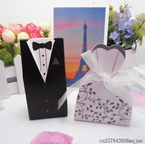 Wholesale 1000Sets Candy Box Bride and Groom Dresses Candy Boxes Paper Gift Box Wedding Gifts Favor Boxes