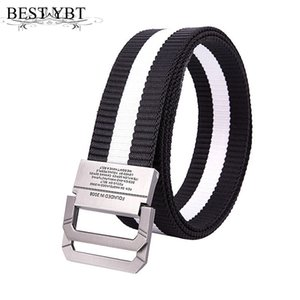Wholesale Best YBT Unisex belt new stripe Nylon Alloy double ring buckle Men belt outdoor sport casual Men and Women cowboy