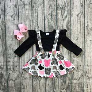Wholesale girls Spring baby girls Fall autumn clothes children black top with suspender sets outfits kids wear clothing with bows