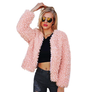 Wholesale Cute Pink Winter Coat For Women Long Sleeve O Neck Faux Fur Short Jacket Outerwear Warm Sherpa Parka Coats CJH1113