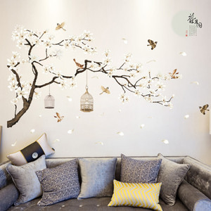 Wholesale 187*128cm Big Size Tree Wall Stickers Birds Flower Home Decor Wallpapers for Living Room Bedroom DIY Vinyl Rooms Decoration
