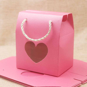 Wholesale Feiluan blank paper handle gift box with heart retangular pvc window box gifts candy wedding favor display bag