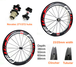 700C carbon rim 38 50 60 88mm depth 25mm width road carbon wheels clincher Tubular carbon wheelset with novatec 271 372 hubs