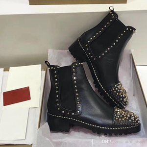 Wholesale New Brand Women Boots Genuine Leather Designer Shoes Luxury Red Bottom Heels Shoes Studded Spikes Party Winter Women Flat Aankle Boots W2