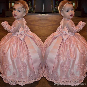 Wholesale lovely little princess dresses for sale - Group buy 2020 Lovely Pink Flower Girl Dresses for Weddings Ball Gowns Lace Appliques Floor Length Little Girls First Communion Pageant Gowns