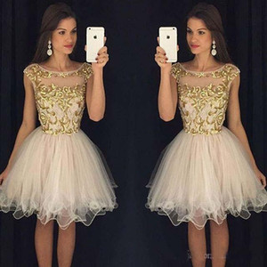 2019 Party Dresses with Cap Sleeves Knee Length Homecoming Dresses Sheer Scoop Short Prom Dresses with Gold Embellishment on Sale