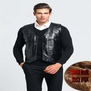 Wholesale pu Fur vest Men's winter vest V-neck single-breasted black bicycle motorcycle Photography waistcoat Punk style plus-size