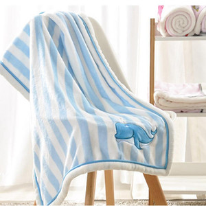Wholesale 75x100cmEmbroidery Cute Animal Cartoon Baby Blankets Flannel Outdoor Travel Home Air Conditioning Colors Blanket DH0742