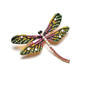 Wholesale 2019 New Fashion Vintage Colorful Enamel Dragonfly Brooches Jewelry For Women Gifts Female Jewelry b412