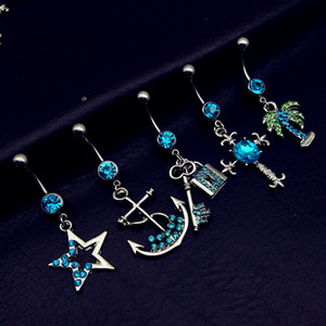 Wholesale 5pcs mix style vintage blue star cross anchor tree key lock dangle navel belly bar button rings body piercing jewelry