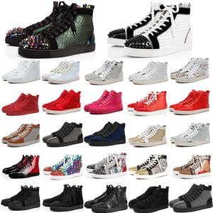 Top Red Bottom Leather Luxury Flat Soled Casual Shoes Fashion Black White Gold Pink Party Couple Dress Shoes With Box