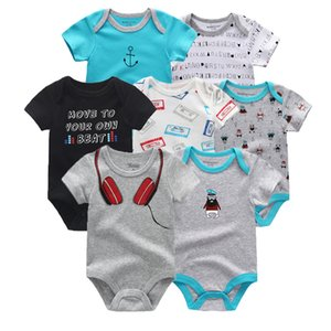 Wholesale 7 Summer Short Sleeve Baby Rompers Set Cotton Baby Onesies Boy Girl Set Ropa Bebe Baby Boy Girl Clothes MX190801