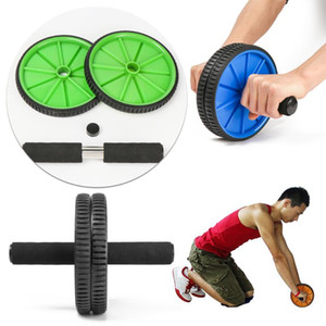 Wholesale training wheels resale online - New Fitness Dual Wheel Abdominal Training Roller Body Building Equipment Home Gym Arm Waist Exerciser Pad Fitness Ab Rollers