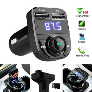 ingrosso kit auto-x8 FM Transmitter Aux modulatore Bluetooth Car Kit vivavoce per auto Lettore MP3 Audio con il caricatore dell automobile A Quick Charge Dual USB