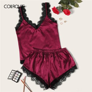 Wholesale COLROVIE Eyelash Lace Satin Pajama Set Summer Sexy Pajamas For Women Sleeveless Sleepwear Ladies Spaghetti Strap Loungewear