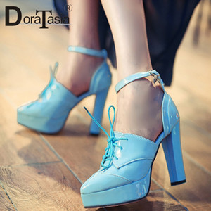 Wholesale DoraTasia Brand New Fashion High Heel Lace Up Shoes Woman Pumps Sexy Pointed Toe Thick Platform Party Date Women Shoes