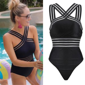 Wholesale New style of fun swimsuit for 2019 Back Neck Monokini Black Swimwear Women Bathing Suits