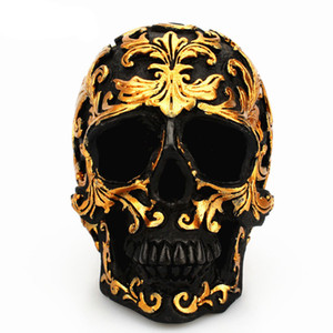 Wholesale crafts for sale - Group buy Resin Craft Black Skull Head Golden Carving Halloween Party Decoration Skull Sculpture Ornaments Home Decoration Accessories