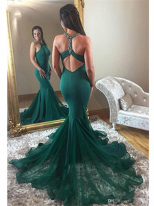 Wholesale 2020 Sexy Green Mermaid Long Prom Dresses Beaded Crystals Neck Tulle Skirt Formal Evening Party Gowns Sweep Train