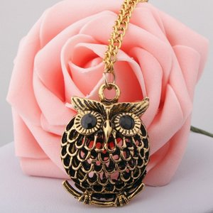 Wholesale New Fashion Ancient Gold Openwork Owl Necklace Long Sweater Chain Fashion Cartoon Unicorn Pegasus Model Necklace Personality Color Drop Oil