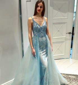 Wholesale Crystal Bead Prom Dresses 2019 Mermaid V Neck Beading Straps Lace Tulle Evening Gowns with Detachable Skirts Cocktail Party Ball Dress
