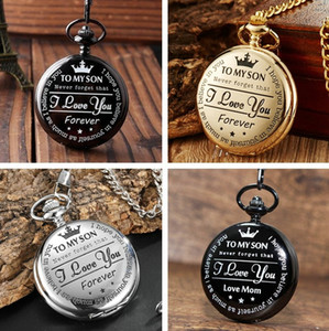 Wholesale Vintage Pocket Watch Luxury Gold To My Son Quartz Fob Chains I LOVE YOU Pendant watch Necklace Women Men Children Kids Watches Gifts